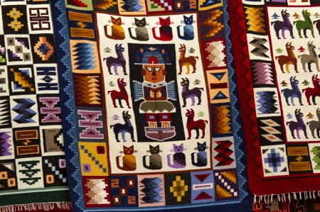 cusco region: Carpets at a store, Pisac, Sacred Valley, Cusco Region, Peru Stock Photo