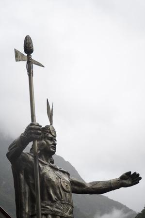 cusco province: Low angle view of a statue of Pachacuti, Aguas Calientes, Urubamba Province, Cusco Region, Peru