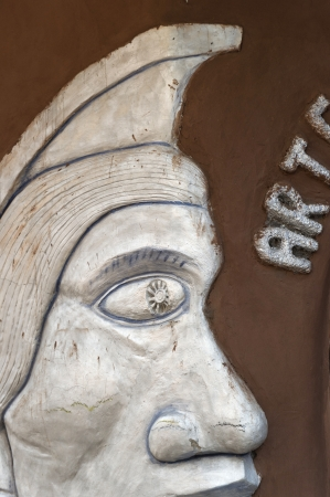 cusco province: Close-up of a wall hanging at a souvenir shop, Pisac, Sacred Valley, Cusco Region, Peru Stock Photo