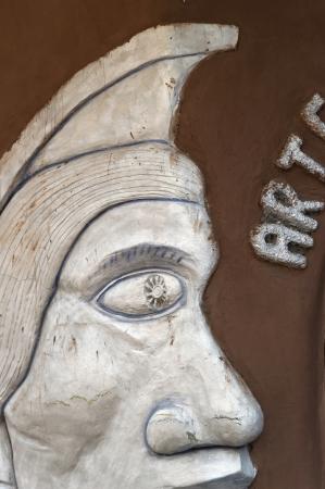 qusqu: Close-up of a wall hanging at a souvenir shop, Pisac, Sacred Valley, Cusco Region, Peru Stock Photo