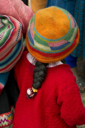 quechua indian: Girl in the schoolyard of Chumpepoke Primary School, Sacred Valley, Cusco Region, Peru