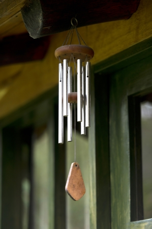 willka tika guesthouse: Wind chime hanging in a guesthouse, Willka Tika, Sacred Valley, Cusco Region, Peru Stock Photo