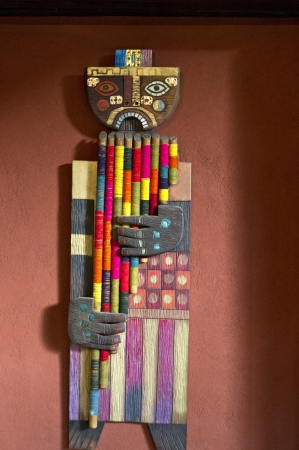 showpiece: Wooden sculpture in a guesthouse, Willka Tika, Sacred Valley, Cusco Region, Peru