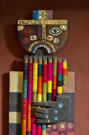 willka tika guesthouse: Wooden sculpture in a guesthouse, Willka Tika, Sacred Valley, Cusco Region, Peru