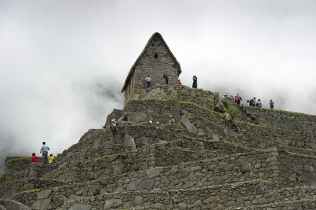 Tourists at The Lost City of The Incas, Machu Picchu, Cusco Region, Peru