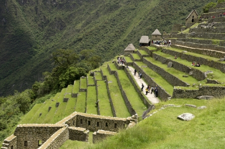 cusco region: Tourists at The Lost City of The Incas, Machu Picchu, Cusco Region, Peru Stock Photo