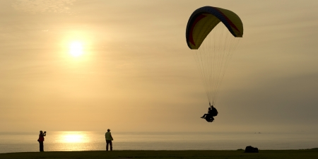 Tourist paragliding, Av De La Aviacion, Miraflores District, Lima Province, Peru photo