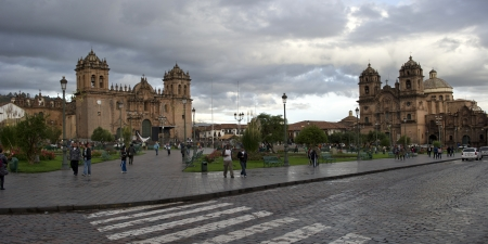 cuzco: Cathedral Of Santo Domingo and Church De La Compania De Jesus, Plaza de Armas, Cuzco, Peru