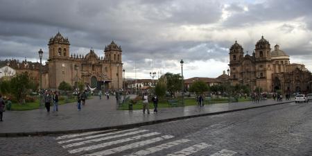 qusqu: Cathedral Of Santo Domingo and Church De La Compania De Jesus, Plaza de Armas, Cuzco, Peru