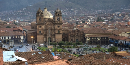 cuzco: Church De La Compania De Jesus, Plaza de Armas, Cuzco, Peru Stock Photo