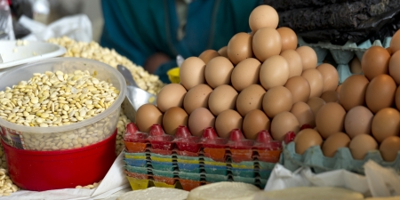 cusco region: Eggs for sale at a store, Sacred Valley, Cusco Region, Peru