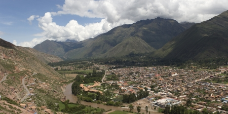 sacred valley of the incas: High angle view of a town, Urubamba, Sacred Valley, Cusco Region, Peru