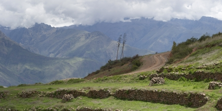 tranquilly: Ruins at terraced field, Moray, Sacred Valley, Cusco Region, Peru Stock Photo