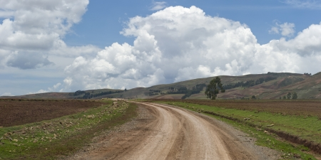 Dirt road passing through an agricultural field, Sacred Valley, Cusco Region, Peru Stock Photo - 16806278