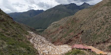 placidness: Salt pond, Maras, Sacred Valley, Cusco Region, Peru Stock Photo