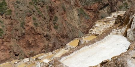 Salt pond, Maras, Sacred Valley, Cusco Region, Peru Stock Photo