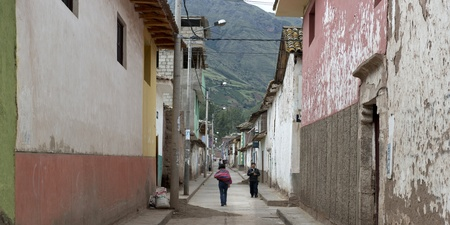 sacred valley of the incas: Buildings along a street, Sacred Valley, Cusco Region, Peru Editorial