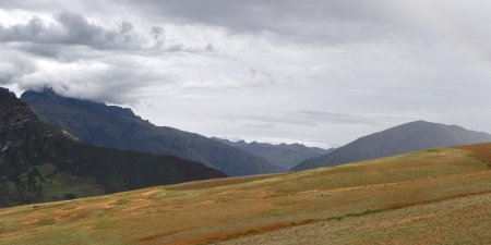 placidness: Clouds over a mountain range, Sacred Valley, Cusco Region, Peru Stock Photo