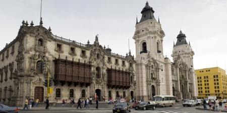 peru architecture: Facade of Cathedral Of Lima, Plaza Mayor, Historic Centre of Lima, Lima, Peru