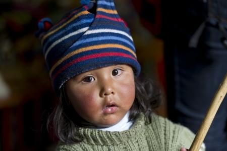 Portrait of a girl wearing a knit hat, Barrio de San Blas, Cuzco, Peru Stock Photo - 17227742