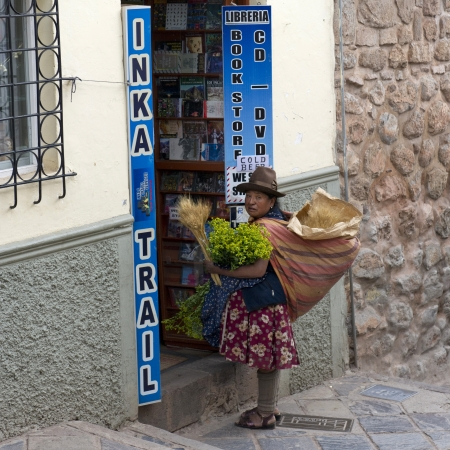 peruvian ethnicity: Mujer peruana vendiendo plantas en una tienda, Cusco, Per�