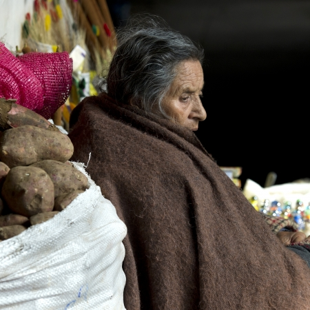 Woman at a market stall, Mercado Central, Cuzco, Peru Stock Photo - 17227837