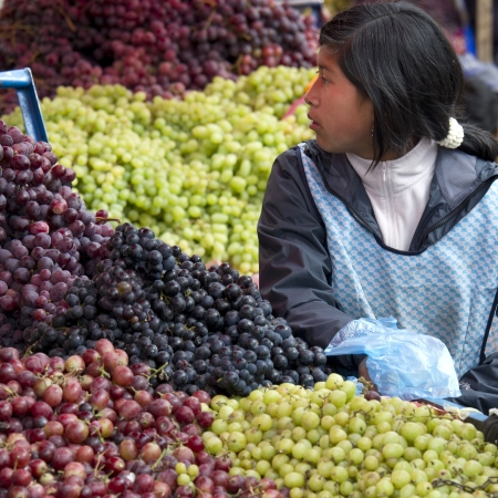 Woman selling fruits at Mercado Central, Cuzco, Peru Stock Photo - 17227813