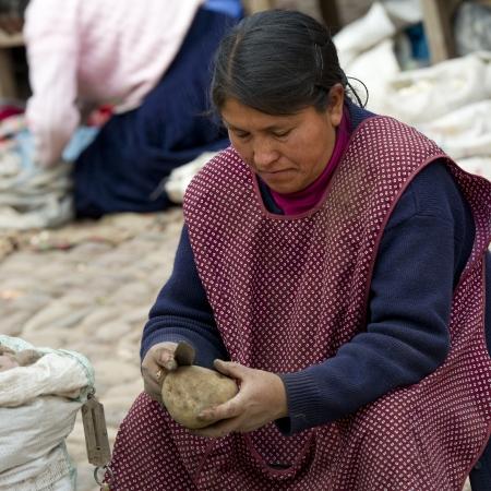sunday market: Mujer pelando patatas en un puesto del mercado el domingo mercado, Pisac, Cusco, Per� Editorial