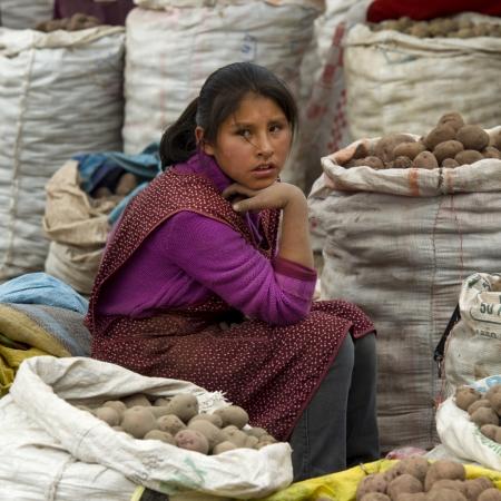 cusco province: Teenage girl selling potatoes at Sunday market, Pisac, Cuzco, Peru Editorial