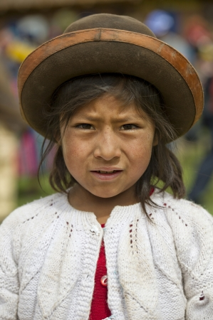 Portrait of a Quechua Indian girl at Chumpepoke Primary School, Poques, Sacred Valley, Cusco Region, Peru Stock Photo - 17227858