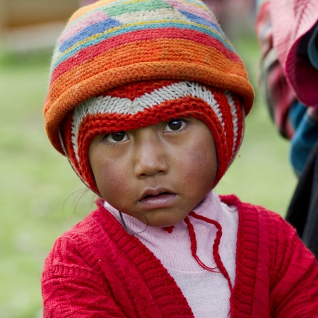 Portrait of a Quechua Indian boy at Chumpepoke Primary School, Poques, Sacred Valley, Cusco Region, Peru Stock Photo - 17227829