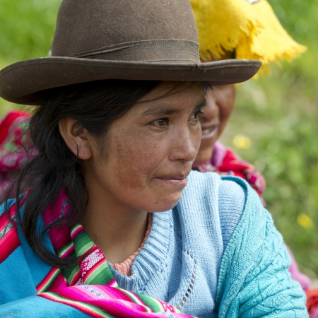 Close-up of Quechua Indian women at Chumpepoke Primary School, Poques, Sacred Valley, Cusco Region, Peru