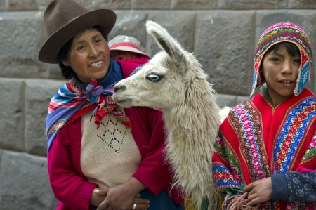 Woman and his son standing with a llama (Lama glama), Sacred Valley, Cusco Region, Peru