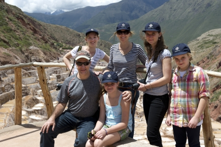 Family at an observation point, Maras, Salinas, Sacred Valley, Cusco Region, Peru