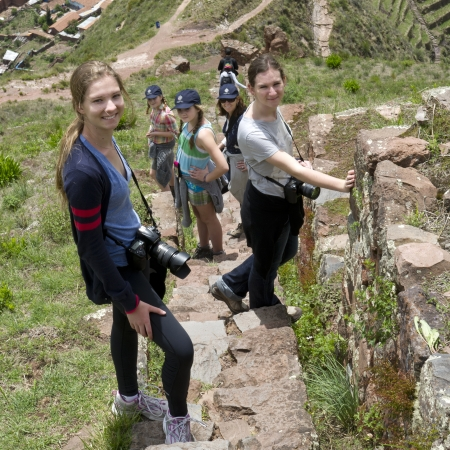 cusco region: Friends at Archaeological Park of Pisac, Pisac, Sacred Valley, Cusco Region, Peru Editorial