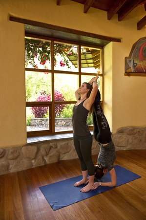 willka tika: Women practicing yoga in a gym, Willka Tika Guesthouse, Willka Tika, Sacred Valley, Cusco Region, Peru