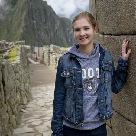 the lost city of the incas: Teenage girl at The Lost City of The Incas, Machu Picchu, Cusco Region, Peru Editorial