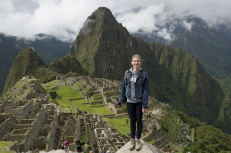 full disclosure: Teenage girl at The Lost City of The Incas, Machu Picchu, Cusco Region, Peru Editorial