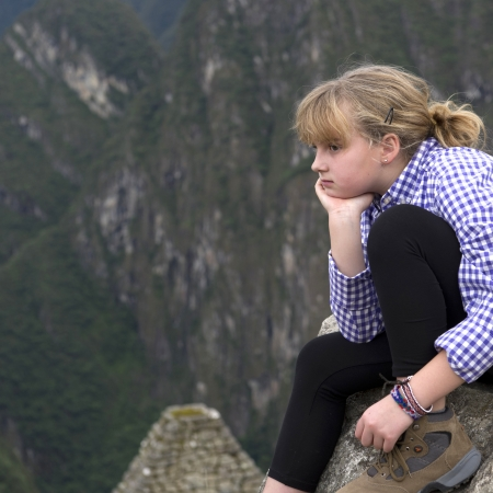 Girl at The Lost City of The Incas, Machu Picchu, Cusco Region, Peru Stock Photo - 17227760