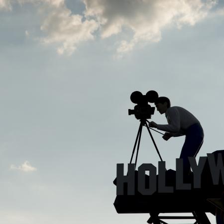 Standbeeld van cameraman bij Hollywood Wax Museum, Marvel Cave Park, Branson, Taney County, Missouri, Verenigde Staten
