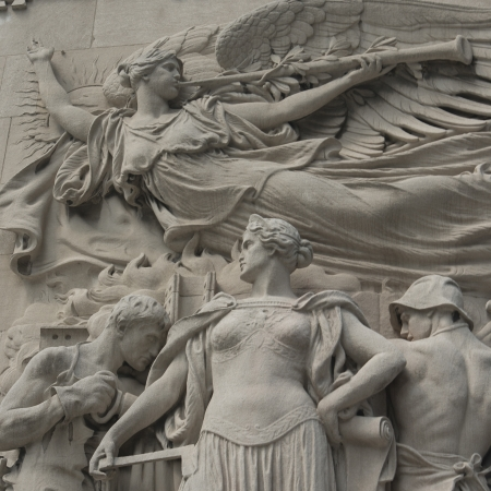 faade: Statues carved on Michigan Avenue Bridge, Chicago, Cook County, Illinois, USA