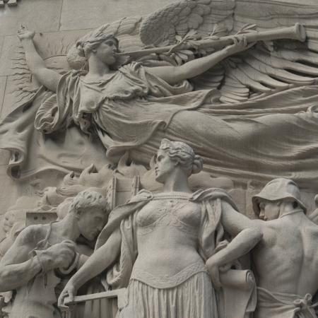 Statues carved on Michigan Avenue Bridge, Chicago, Cook County, Illinois, USA