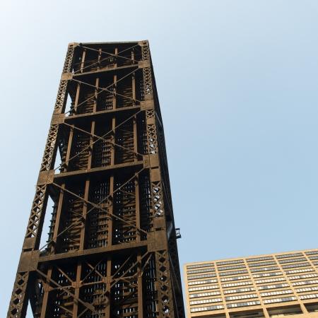 drawbridge: Low angle view of a drawbridge, Chicago, Cook County, Illinois, USA Stock Photo
