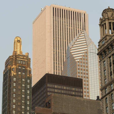contrasts: Low angle view of Carbide and Carbon Building, Chicago, Cook County, Illinois, USA