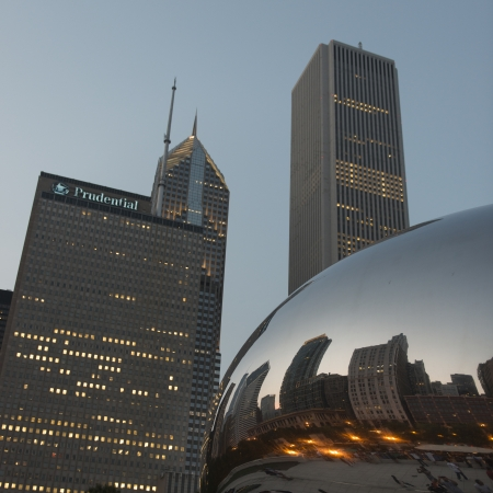 prudential: Reflection of buildings on Cloud Gate sculpture, Prudential Tower, Millennium Park, Chicago, Cook County, Illinois, USA
