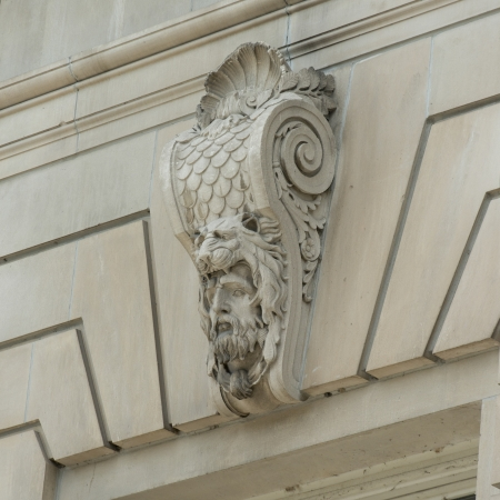 Carving details on the wall of a building, Michigan Avenue, Chicago, Cook County, Illinois, USA