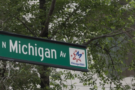 Low angle view of Michigan Avenue sign, Chicago, Cook County, Illinois, USA photo