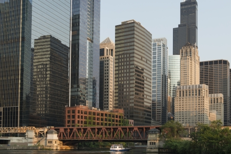 illinois river: Skyscrapers at the waterfront, Sears Tower, North Canal Street, Chicago River, Chicago, Cook County, Illinois, USA