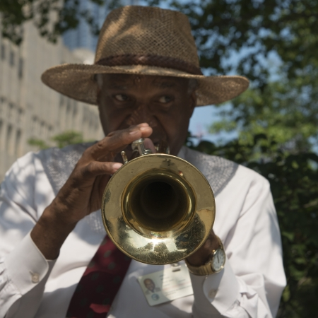 Man playing a trumpet, Chicago, Cook County, Illinois, USA