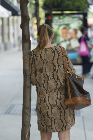 unrecognizable: Rear view of a woman leaning against a tree on the street, Chicago, Cook County, Illinois, USA